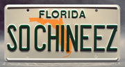 Replica metal stamped Florida license plate garage decor from Fresh Off the Boat starring Randall Park