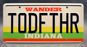 Replica metal stamped Indiana license plate garage decor from Stranger Things starring Winona Ryder