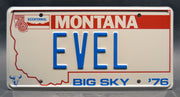 Replica metal stamped Montana license plate garage decor from Evel Knievel memorabilia