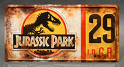 Replica metal stamped license plate garage decor from Jurassic Park starring Jimmy Fallon