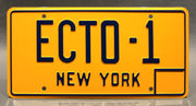 Replica metal stamped New York license plate garage decor from Ghostbusters starring Sigourney Weaver