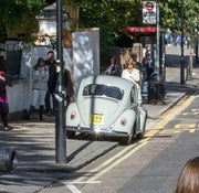DWW 29IF license plate on the White Volkswagen Beetle from Doctor Who season 9 promo shoot