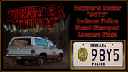 98Y5 license plate on Chief Hopper's Police K5 Blazer from Stranger Things