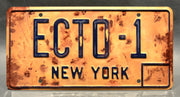 Replica metal stamped New York license plate garage decor from Ghostbusters 3 starring Dan Aykroyd