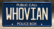 Replica metal stamped police box license plate garage decor from Doctor Who starring Alex Kingston
