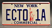 Replica metal stamped New York license plate garage decor from Ghostbusters 2 starring Harold Ramis