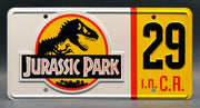Replica metal stamped license plate garage decor from Jurassic Park starring BD Wong