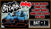 BAT-1 screen accurate prop plate movie memorabilia from Batman starring Adam West