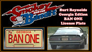 BAN ONE prop plate movie memorabilia from Smokey and the Bandit starring Burt Reynolds