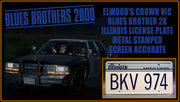 BKV 974 prop plate movie memorabilia from Blues Brothers 2000 starring Dan Aykroyd