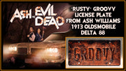 GROOVY prop plate movie memorabilia from Ash vs Evil Dead starring Bruce Campbell