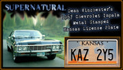 KAZ 2Y5 prop plate movie memorabilia from Supernatural starring Jensen Ackles