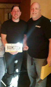 BOOMSTICK license plate from Pat McAfee Foundation with stand-up comedy