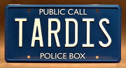 Replica metal stamped police box license plate garage decor from Doctor Who with Brigadier Lethbridge-Stewart