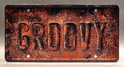 Replica metal stamped license plate garage decor from Ash vs Evil Dead starring Ray Santiago