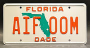 Replica metal stamped Florida license plate garage decor from Miami Vice starring Olivia Brown