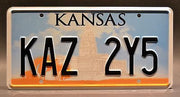 Replica metal stamped Kansas license plate garage decor from Supernatural with Dean Winchester