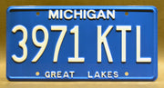 Replica metal stamped Michigan license plate garage decor from Ash vs Evil Dead starring Dana DeLorenzo