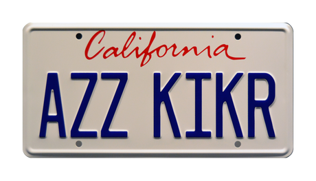 AZZ KIKR prop plate movie memorabilia from Con Air starring Nicolas Cage