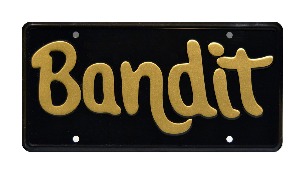 Bandit prop plate movie memorabilia from Trans Am advertisement starring Burt Reynolds