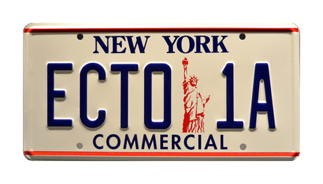 ECTO-1A prop plate movie memorabilia from Ghostbusters 2 starring Dan Aykroyd