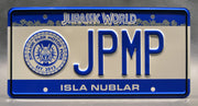 Replica metal stamped license plate garage decor from Jurassic Park by David Koepp