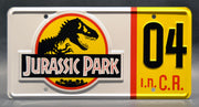 Replica metal stamped license plate garage decor from Jurassic Park starring Miguel Sandoval