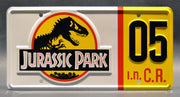 Replica metal stamped license plate garage decor from Jurassic Park starring Cameron Thor