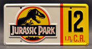 Replica metal stamped license plate garage decor from Jurassic Park starring Samuel L. Jackson