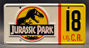 Replica metal stamped license plate garage decor from Jurassic Park starring Martin Ferrero
