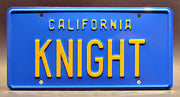 Replica metal stamped California license plate garage decor from Knight Rider starring Peter Parros