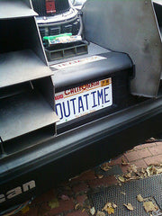 OUTATIME license plate on DeLorean from Back to the Future