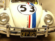 OFP 857 license plate on the 1963 Volkswagen Beetle from The Love Bug