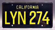 Replica metal stamped California license plate garage decor from Gone in 60 Seconds starring Angelina Jolie