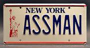 Replica metal stamped New York license plate garage decor from Seinfeld starring Michael Richards