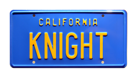 KNIGHT prop plate movie memorabilia from Knight Rider starring David Hasselhoff