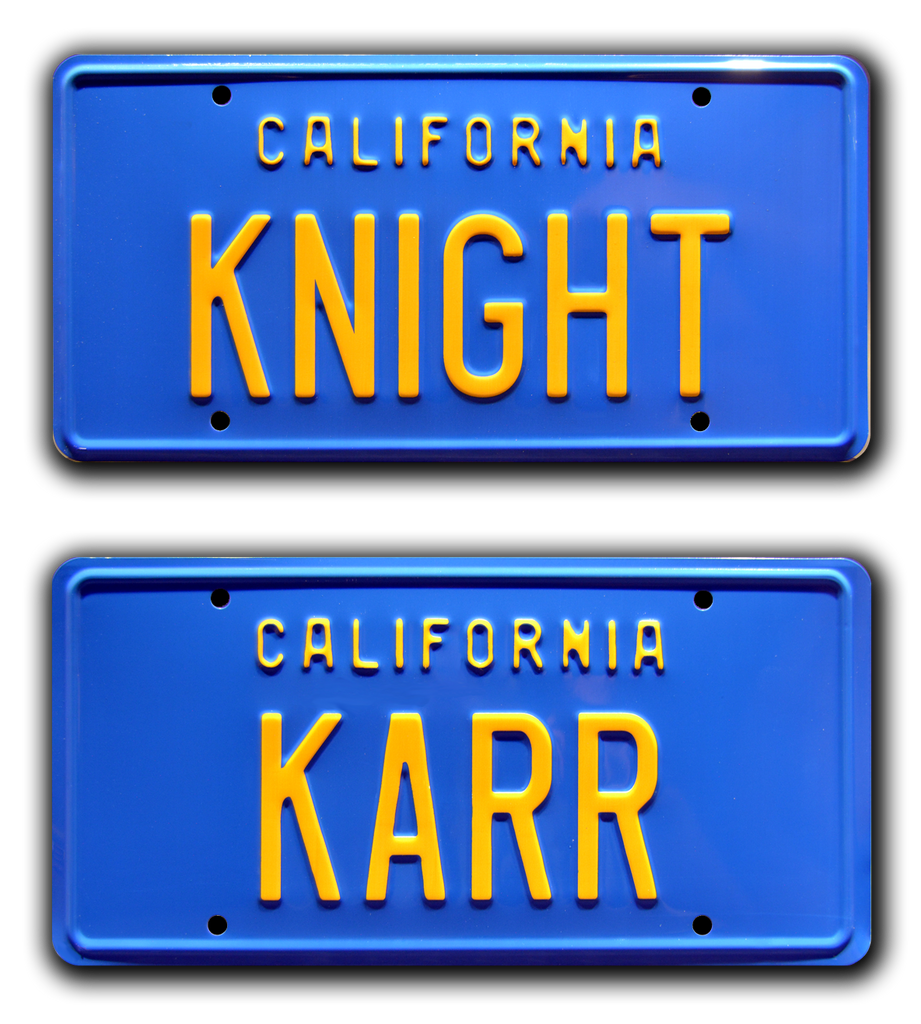 Replica metal stamped California license plate garage decor from Knight Rider with KITT Trans Am
