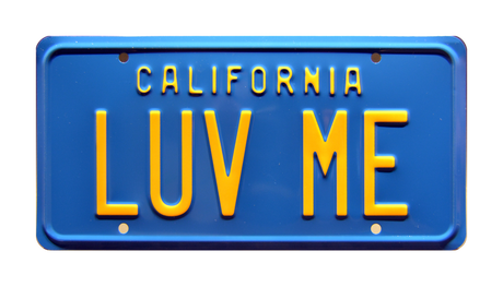 LUV ME prop plate movie memorabilia from National Lampoon's Vacation starring Chevy Chase