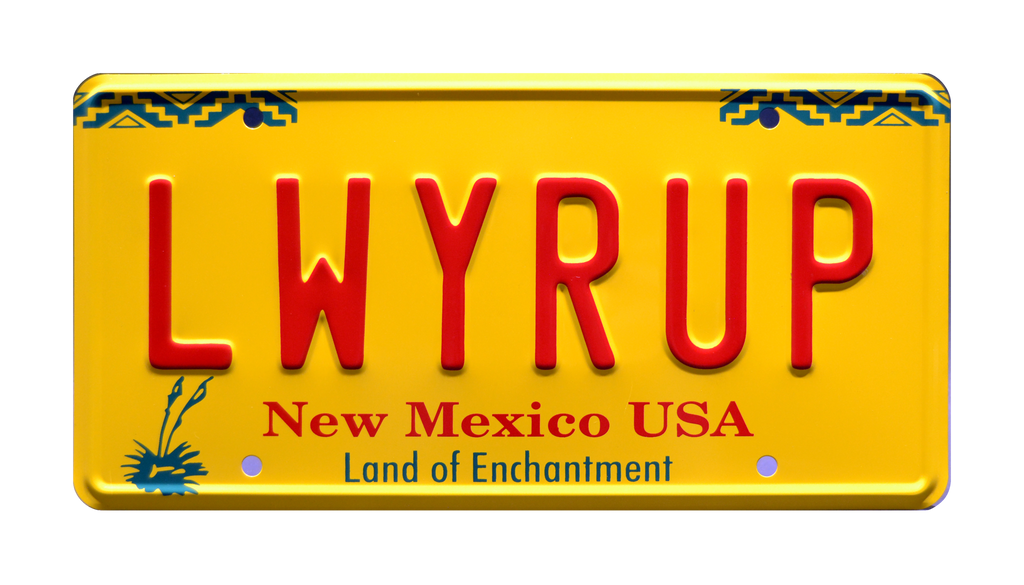 LWYRUP prop plate movie memorabilia from Breaking Bad starring Bob Odenkirk from Better Call Saul