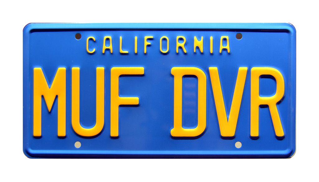 MUF DVR prop plate movie memorabilia from Cheech & Chong's Up in Smoke starring Cheech Marin