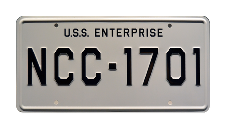 NCC-1701 prop plate movie memorabilia from Star Trek with Commander Spock