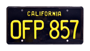 OFP 857 prop plate movie memorabilia from The Love Bug with Herbie