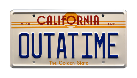 OUTATIME prop plate movie memorabilia from Back to the Future starring Michael J. Fox