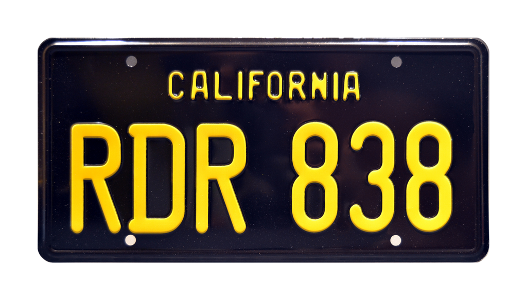 RDR 838 Charger prop plate movie memorabilia from Bullitt starring Steve McQueen