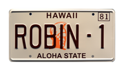ROBIN-1 prop plate movie memorabilia from Magnum PI starring Tom Selleck
