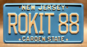 Replica metal stamped New Jersey license plate garage decor from Buckaroo Banzai starring Ellen Barkin