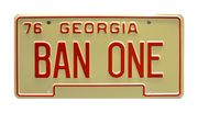 SA BAN ONE prop plate movie memorabilia from Smokey and the Bandit starring Sally Field
