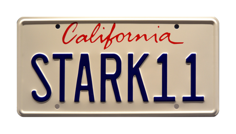 STARK 11 prop plate movie memorabilia from Iron Man 2 starring Robert Downey Jr.
