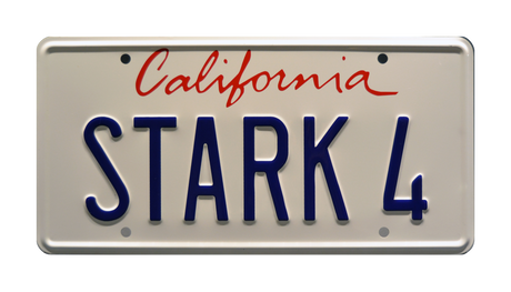 STARK 4 prop plate movie memorabilia from Iron Man starring Clark Gregg