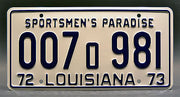 Replica metal stamped Louisiana license plate garage decor from JAWS with Chief Martin Brody